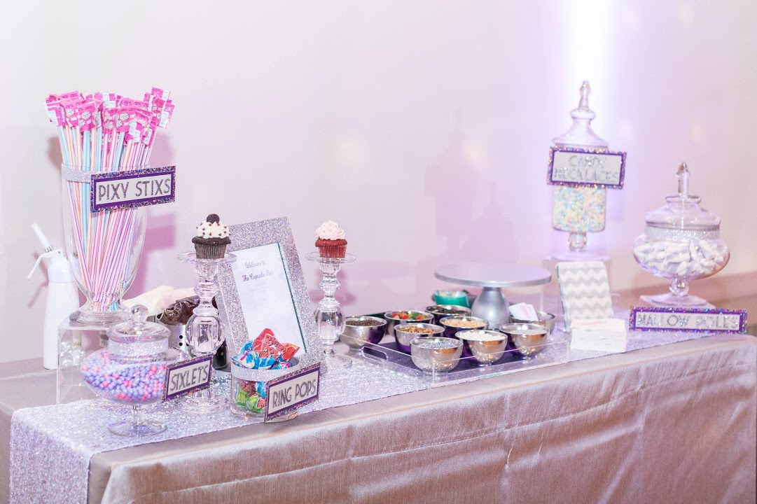 Our table set up included our custom Cupcake Bar plus a candy bar for take home fun!