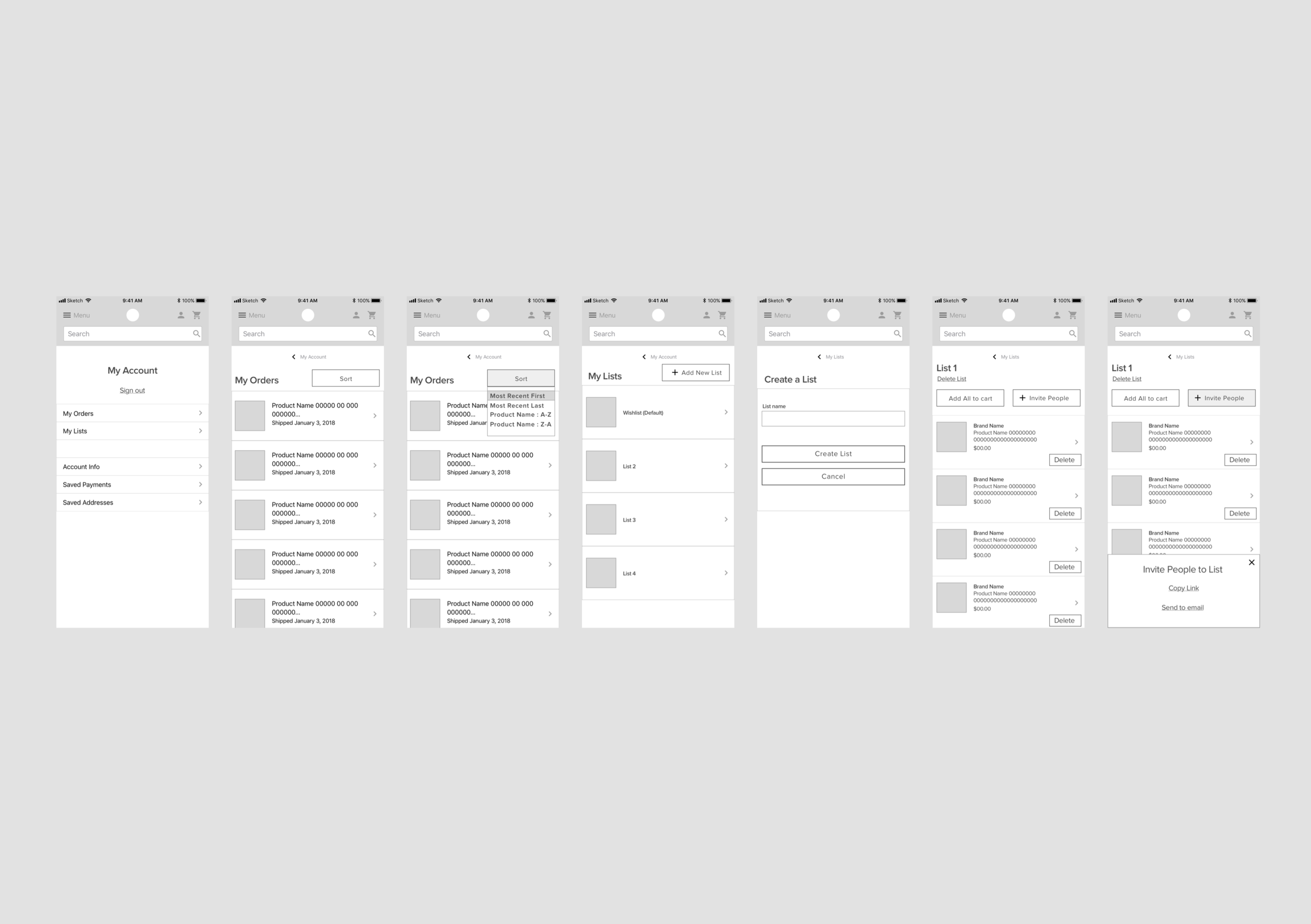 Mobile wireframes for My Account (recent orders & create list)