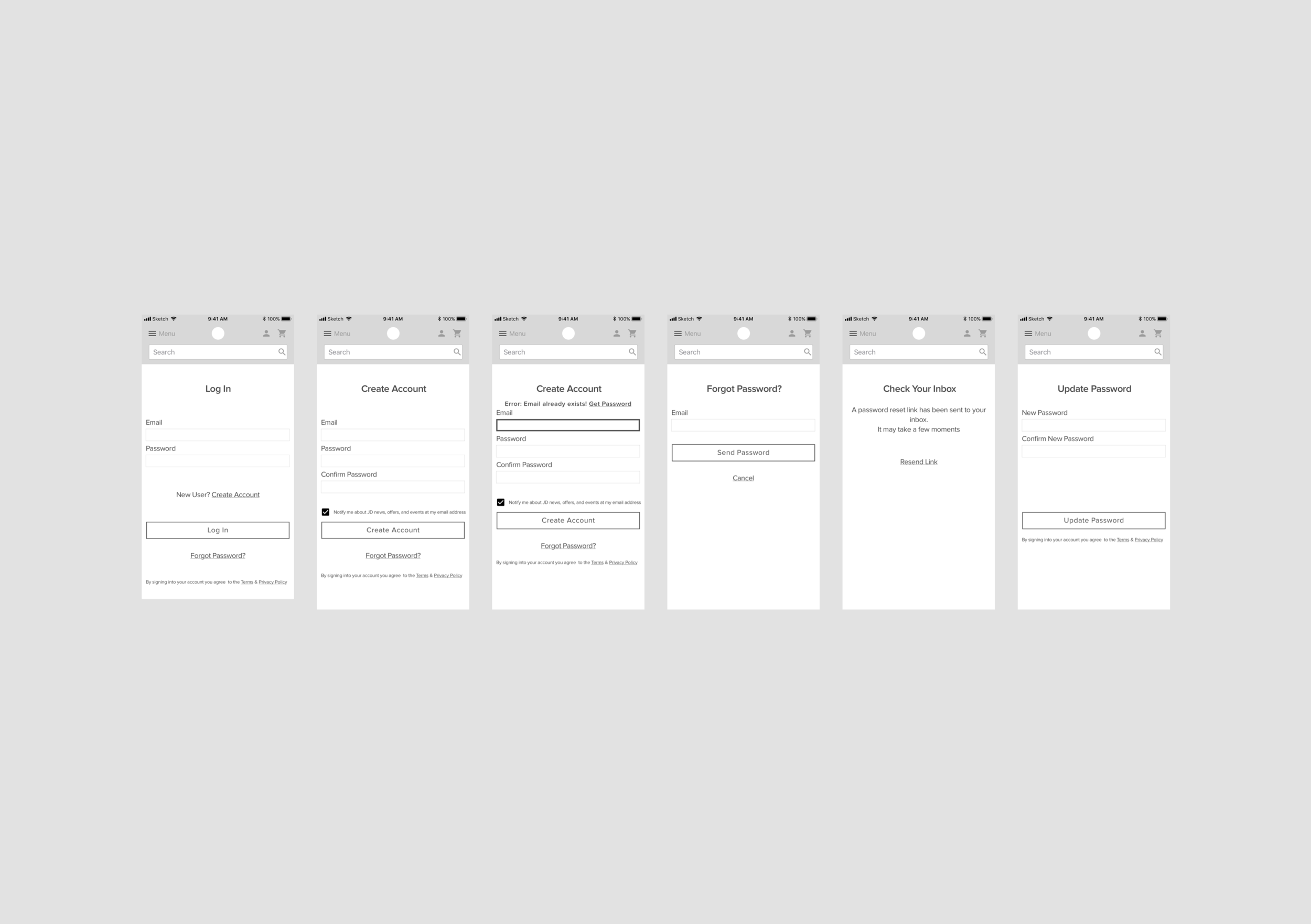 Mobile wireframes for Log-In.