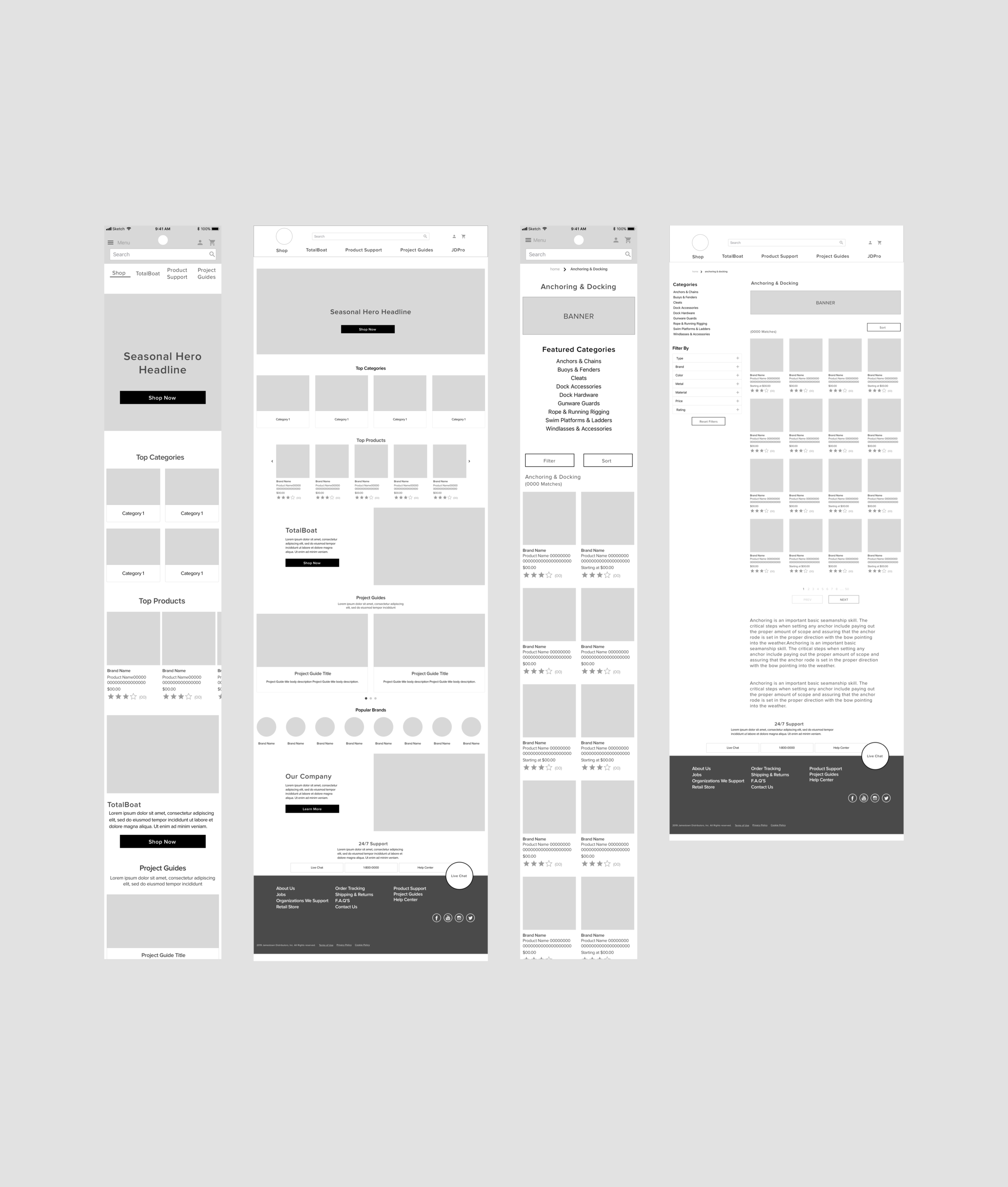 Initial Home & Product Category wireframes (mobile & desktop)