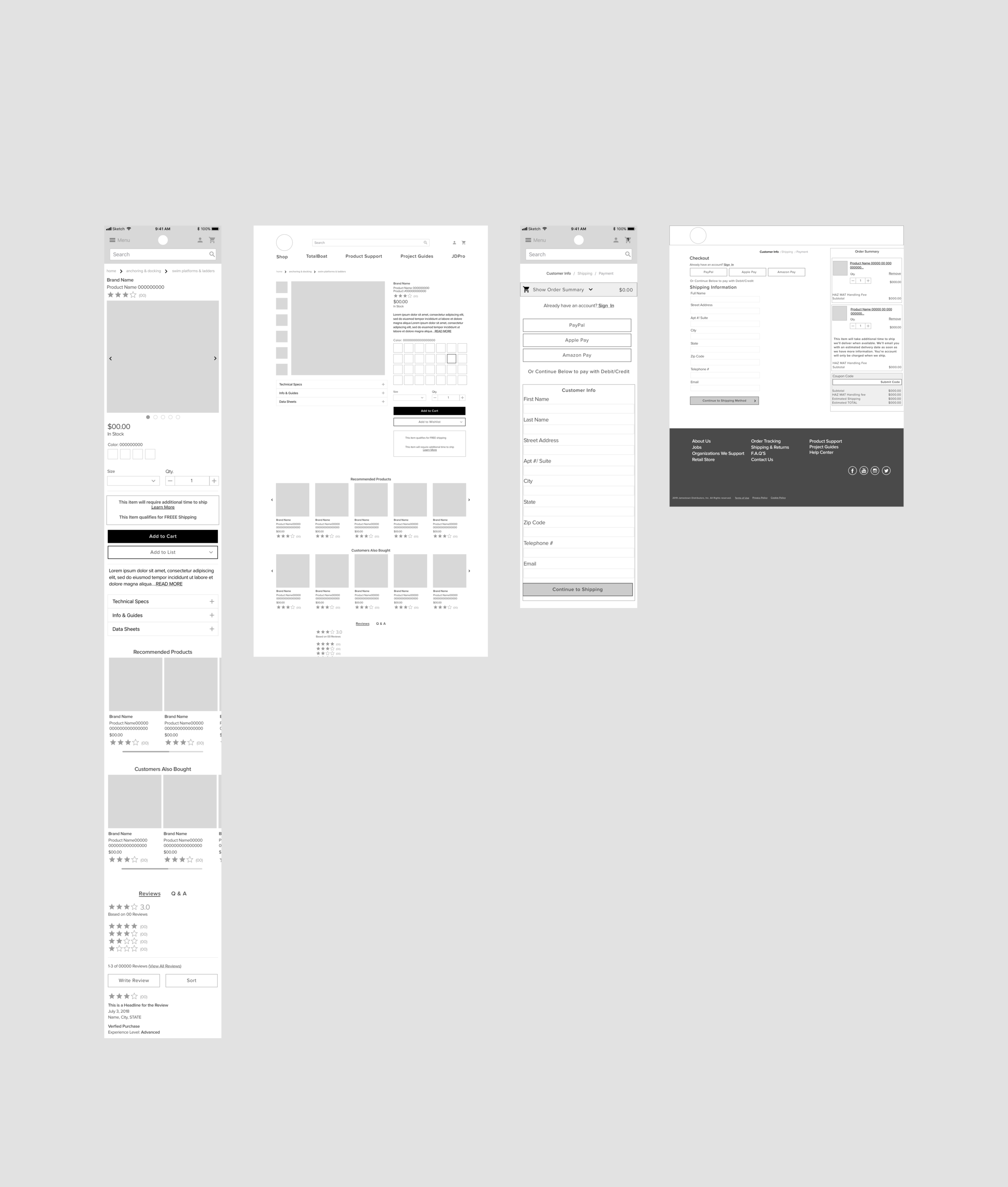 Initial Cart & Checkout wireframes (mobile & desktop)