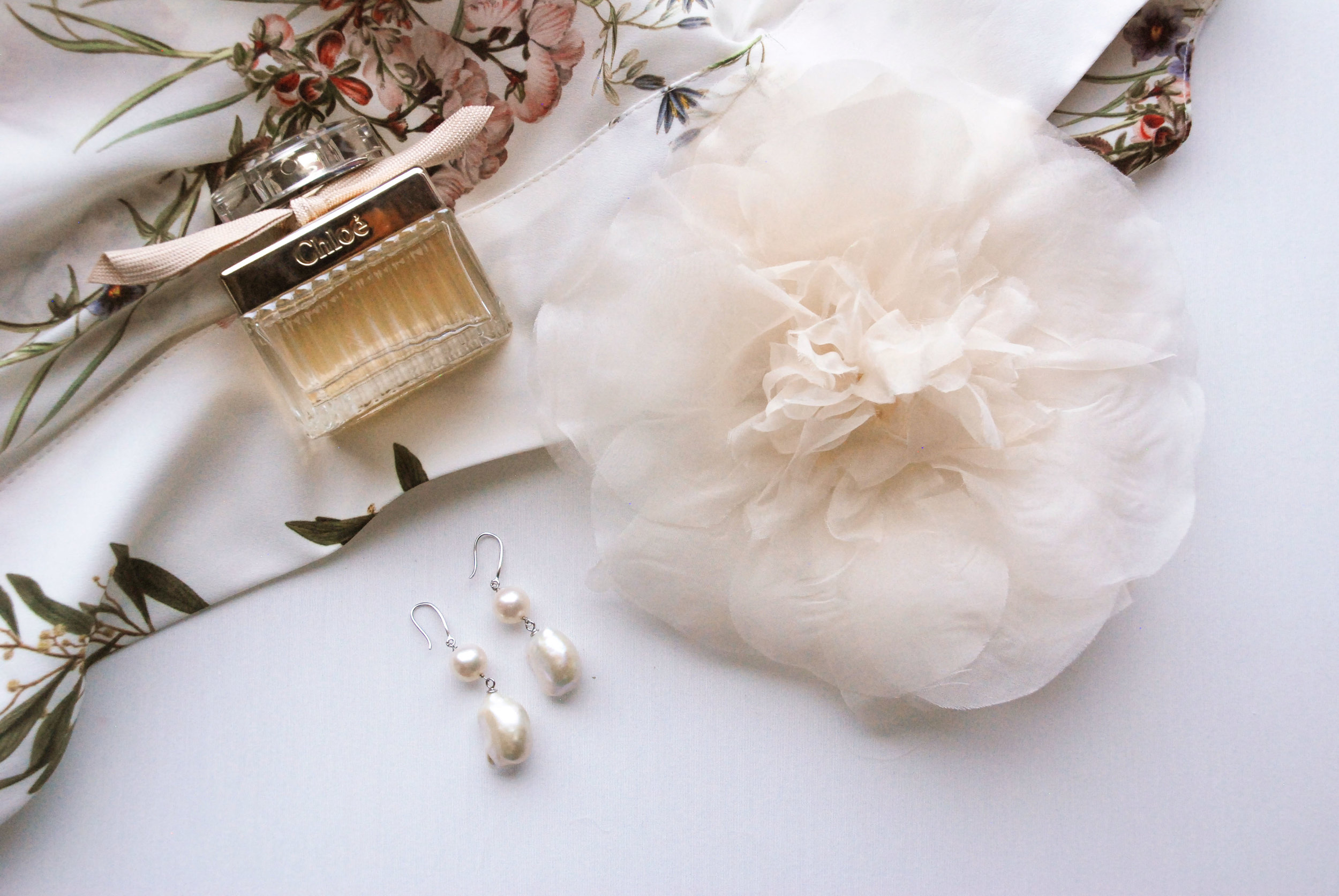Shirley & Audrey:  Peony silk flower , natural pearl drop earrings