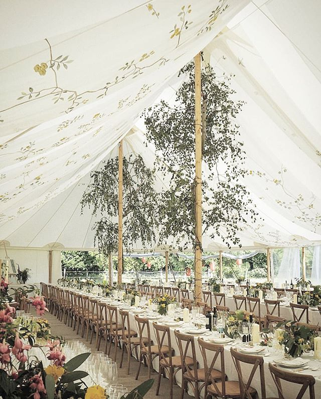 Lush greenery and hand painted organza canopy for the wedding reception? Yes please! 🌿🕊 . . . #shirleyandaudrey #degournay #organza #wedding #weddingdecor #weddinginspiration #weddingflorals #weddingreception  #weddingcanopy #weddingtent #outdoorwedding #glamping