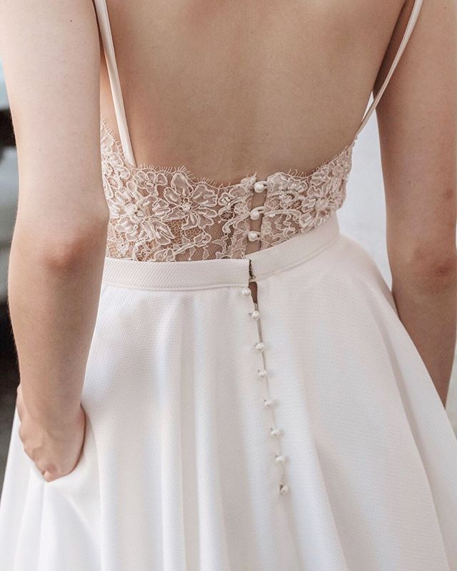 In love with the delicate details of these @truvellebridal gowns 😍