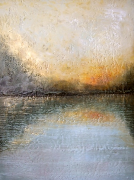 Encaustic art by Susan Wallis, lake, landscape, nature from PEC