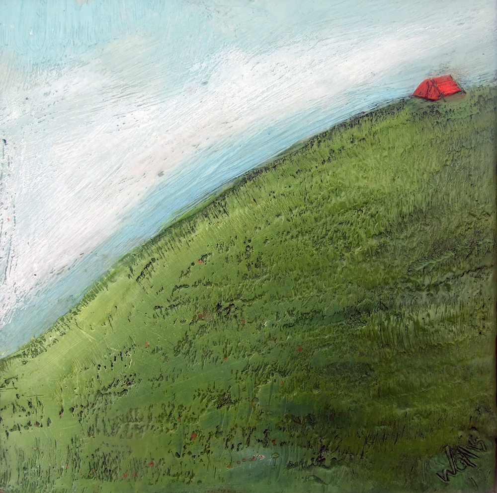 Hill top Camping 10x10 encaustic art Susan Wallis