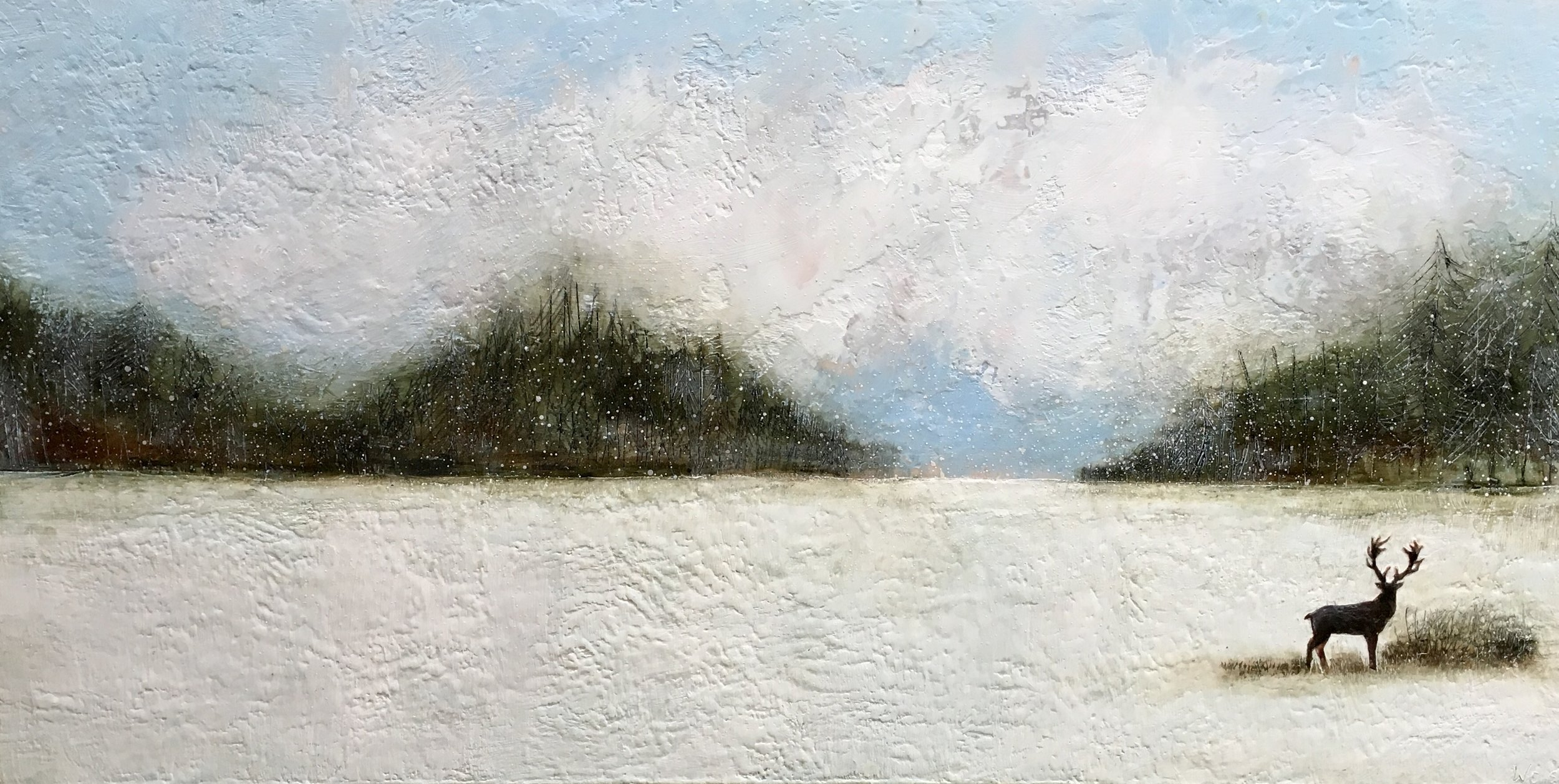 Under Watchful Skies Detail 69x34 encaustic art susan wallis
