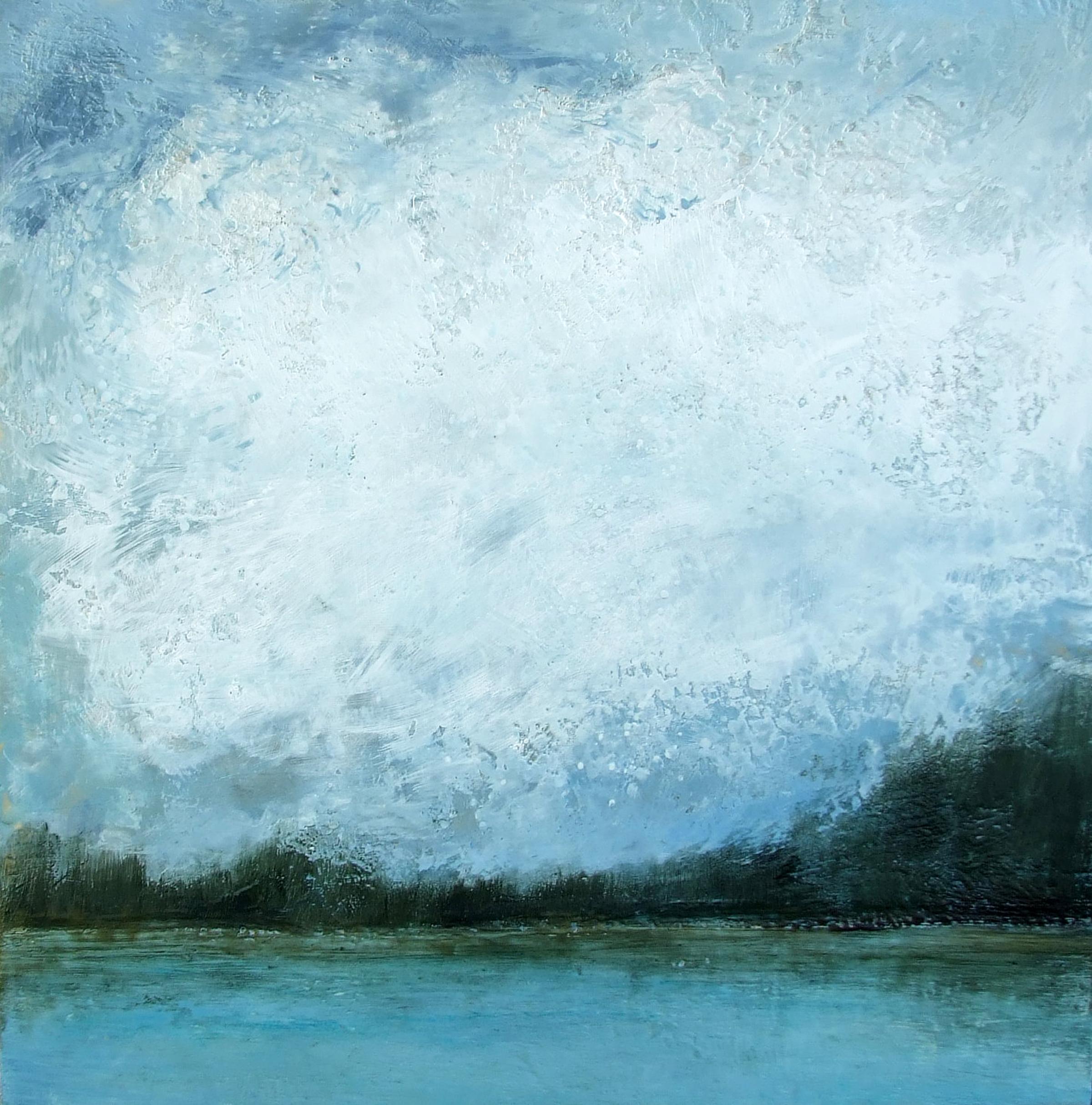 Big Skies 46x46 encaustic wax painting