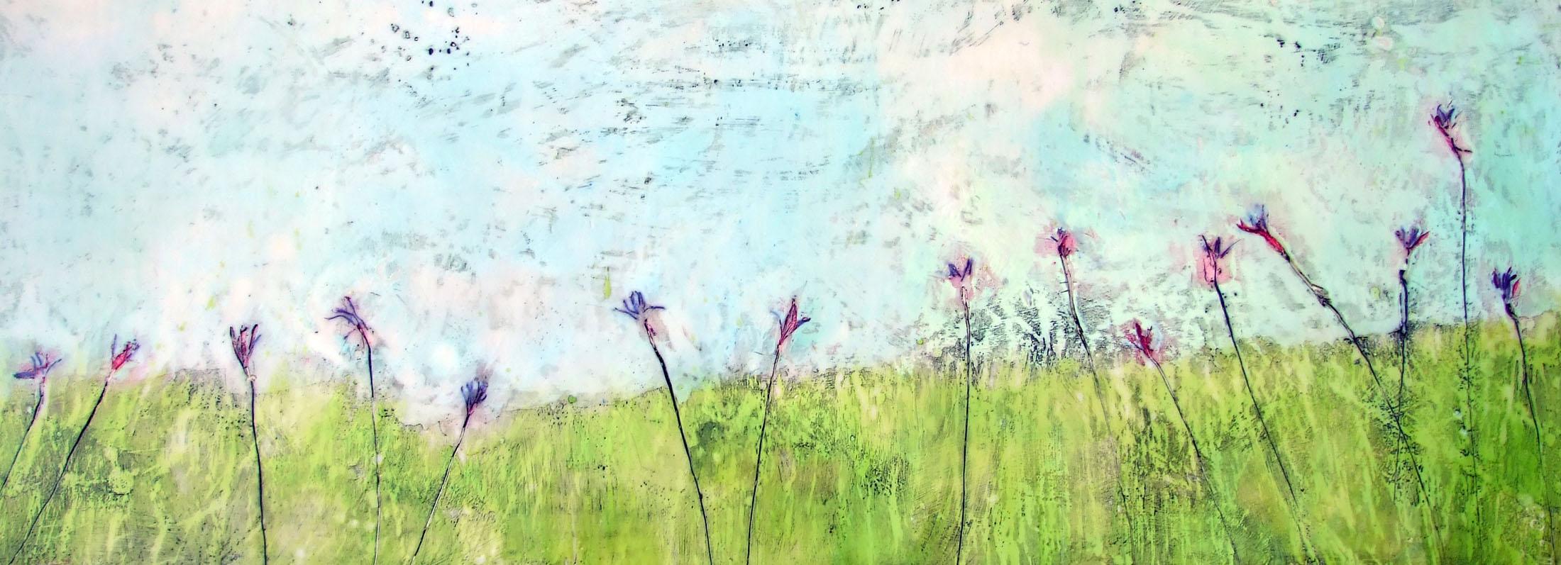 Springing to Life 48x18 encaustic art by susan wallis