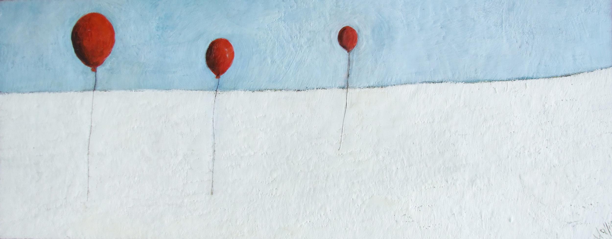 Floating Apart 60x24 encaustic wax art by susan wallis