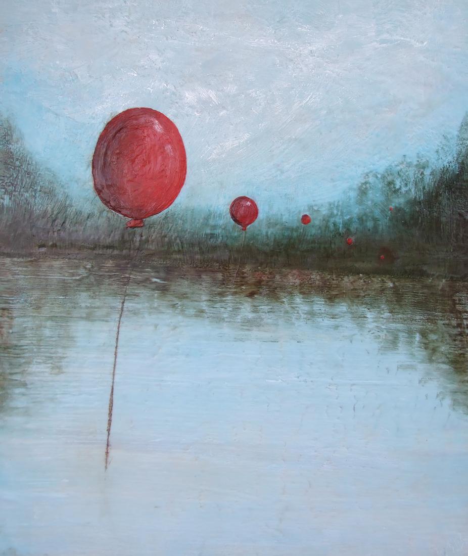 Floating 30x36 2012 encaustic art susan wallis