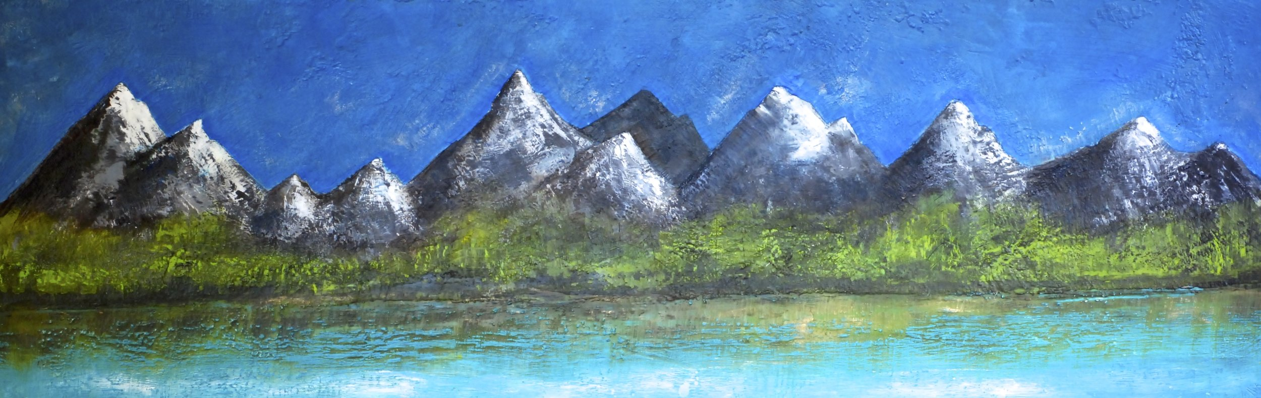 where the mountains touch the skies 72x24   SOLD