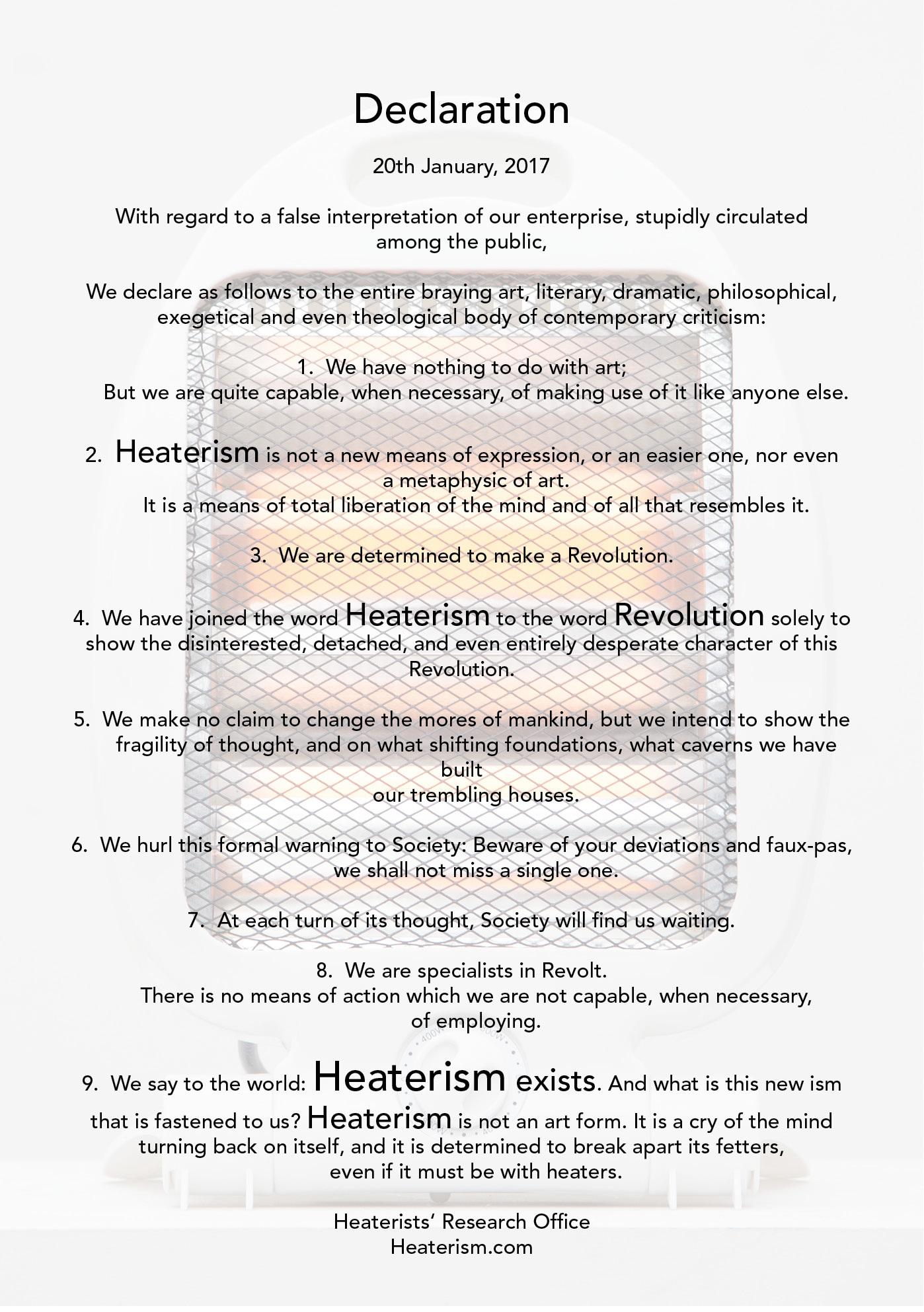 Heaterist Declaration, Ralf Pflugfelder, 2017.