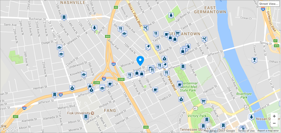 The  Germantown West  neighborhood boasts a walkability score of 77 and is filled with the city's finest restaurants, watering holes and attractions.                                                   *Click on the map to be redirected to full walk score report*
