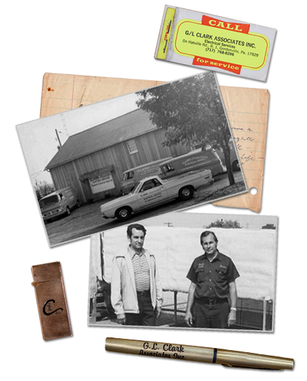 Historical photos, branded items, and other legacy memorabilia from G-L Clark Associates.