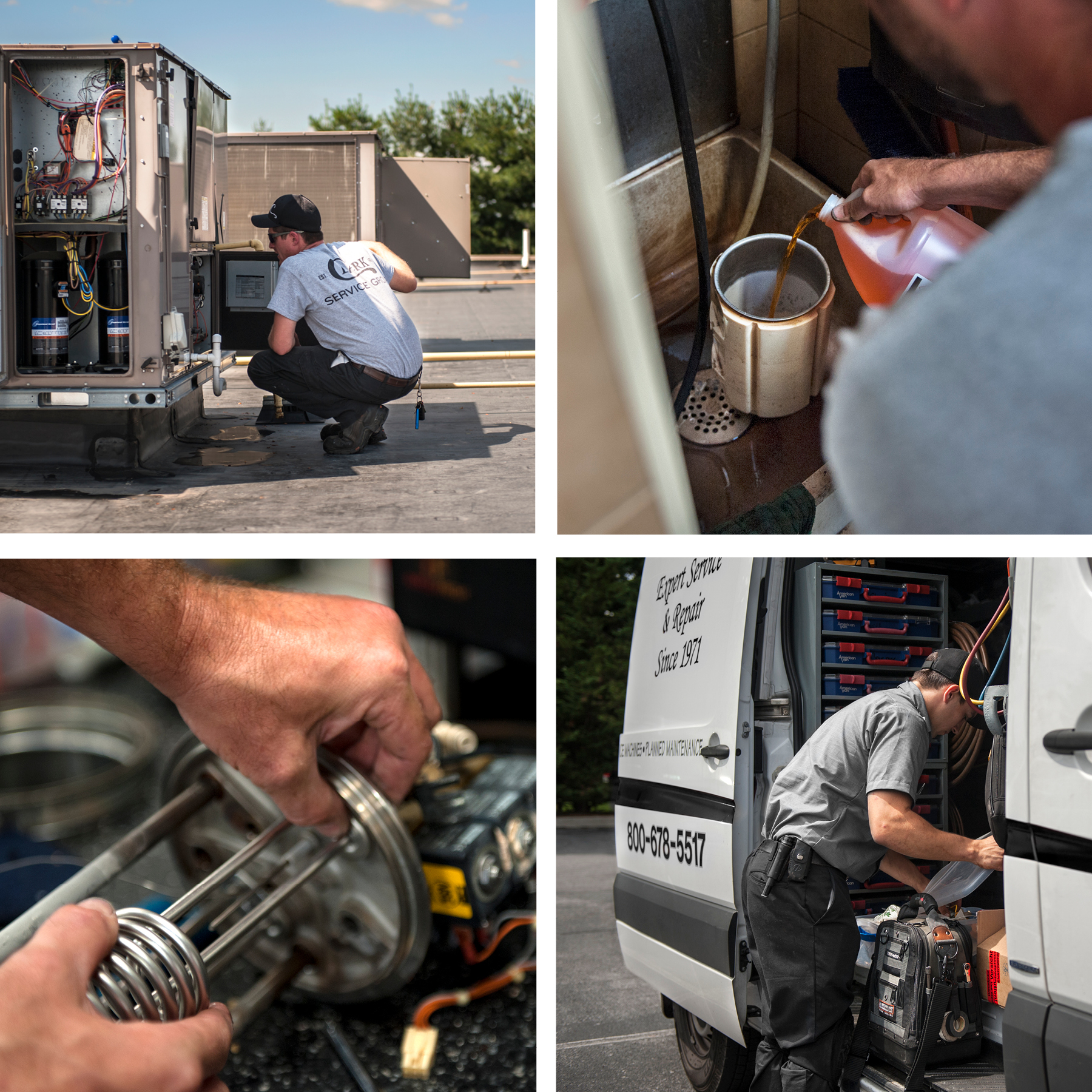 Proactive Maintenance Technicians cleaning and maintaining various commercial kitchen equipment and HVAC units.