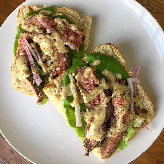 open-faced steak sandwich with parmesan dressing from a @bonappetitmag issue a few months ago. steak is still really hard for me to nail, and i think i'm going to make it a late new year's resolution to get good at it. 🤙🥩(really hate the raw steak emoji. yikes)