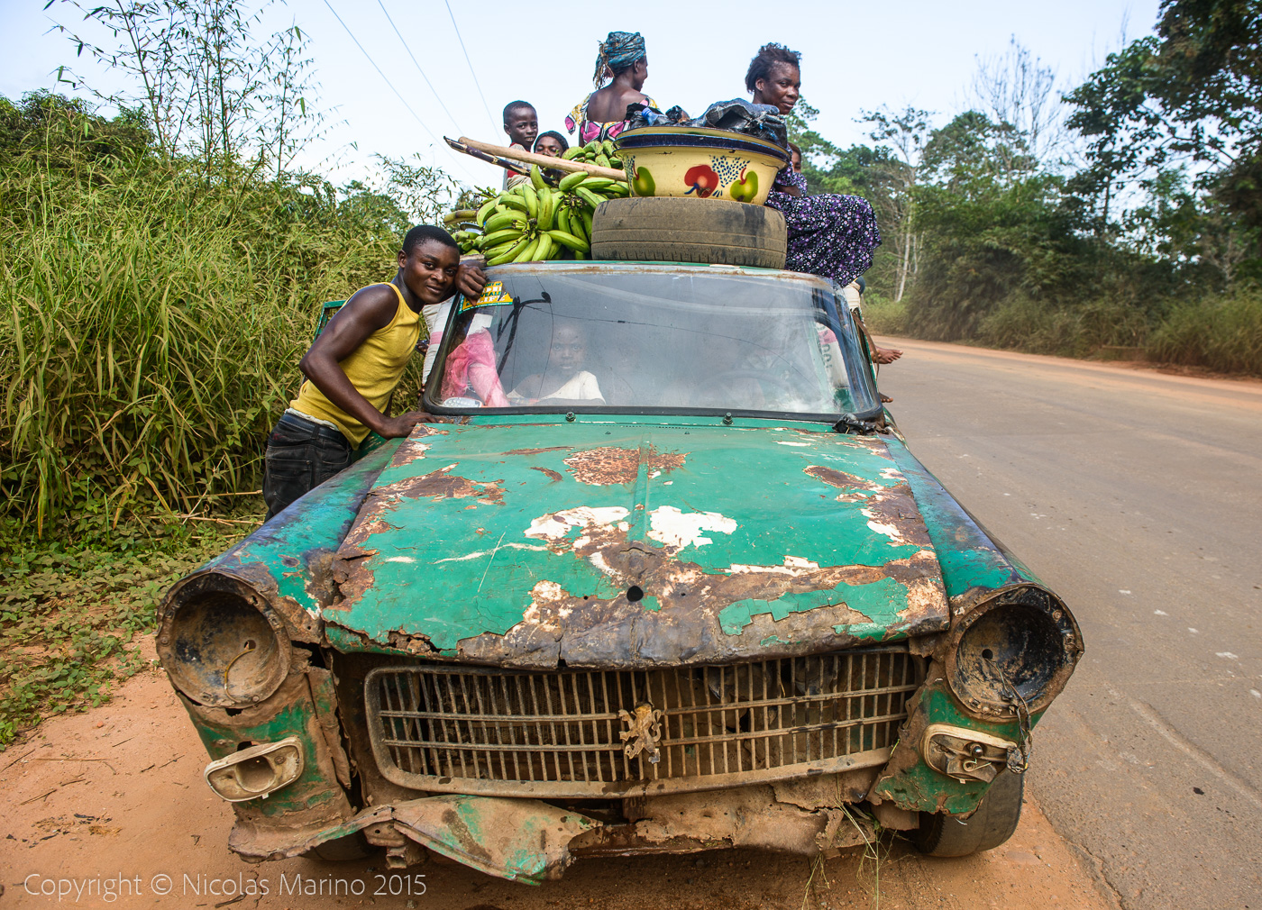 An old Peugeot 404 used as taxi. Nigeria