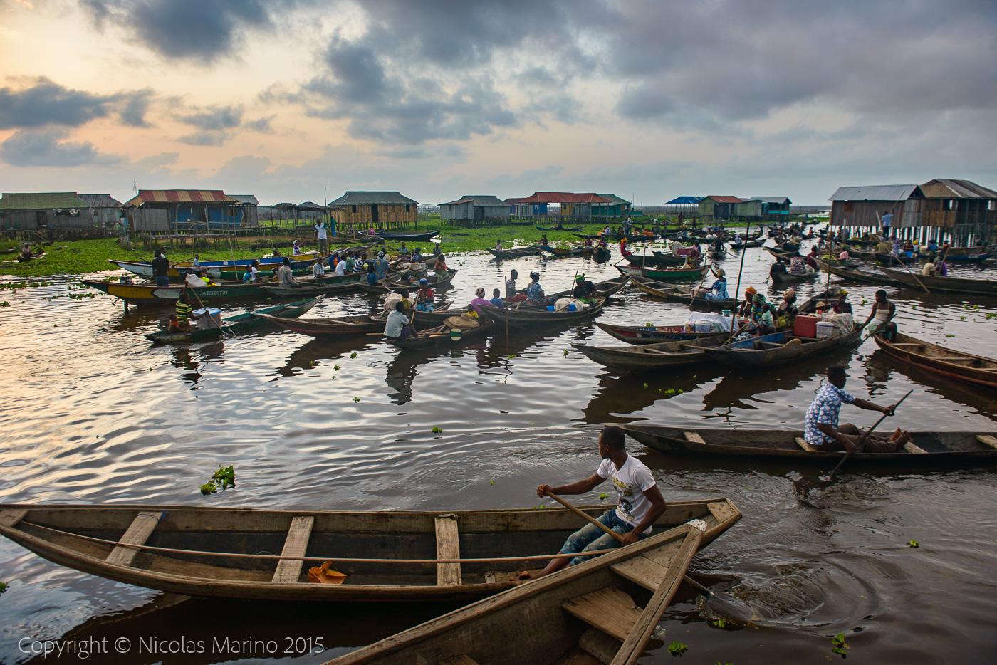 People of the floating village of Ganvié. Benin