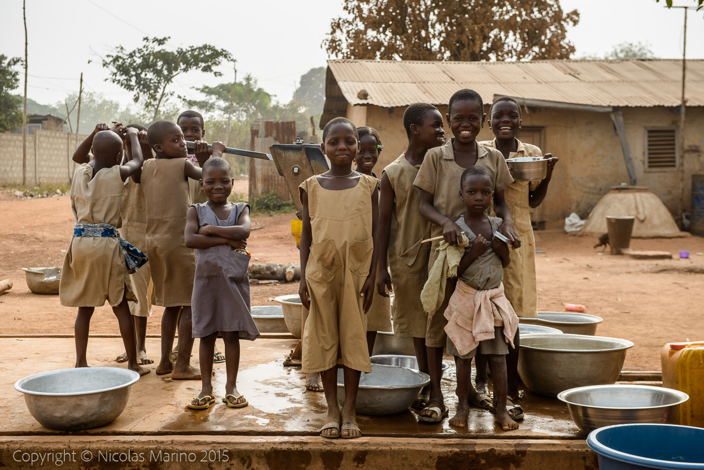 Gathering water in northern Benin.