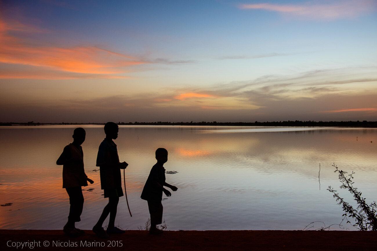 An artificial water reservoir. Burkina Faso