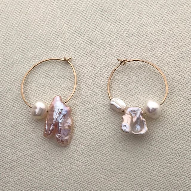 Alena Earrings 〰️ with lavender pink pearls. Every pair is unique. Wear them as symbols of your beauty and strength 🖤⠀ ⠀ Shop online at flowersandskin.com