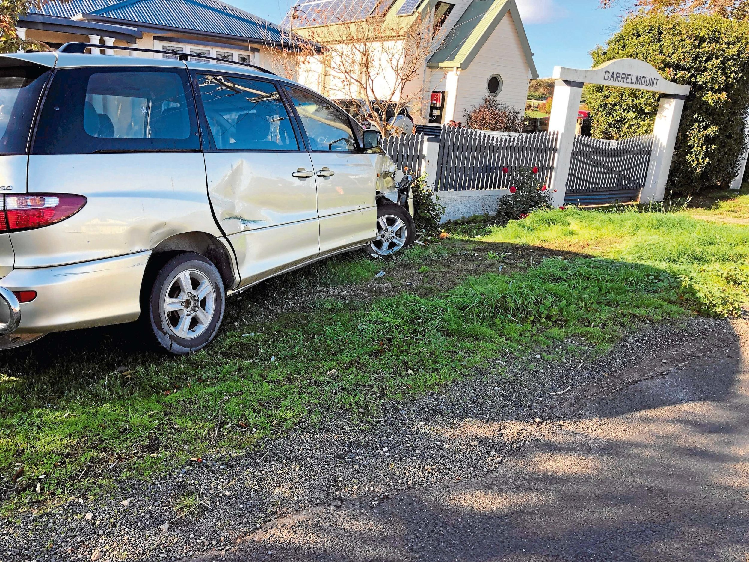 • This vehicle was severely hit during on Saturday night destroying the front and side; police have an open investigation to find the perpetrator.