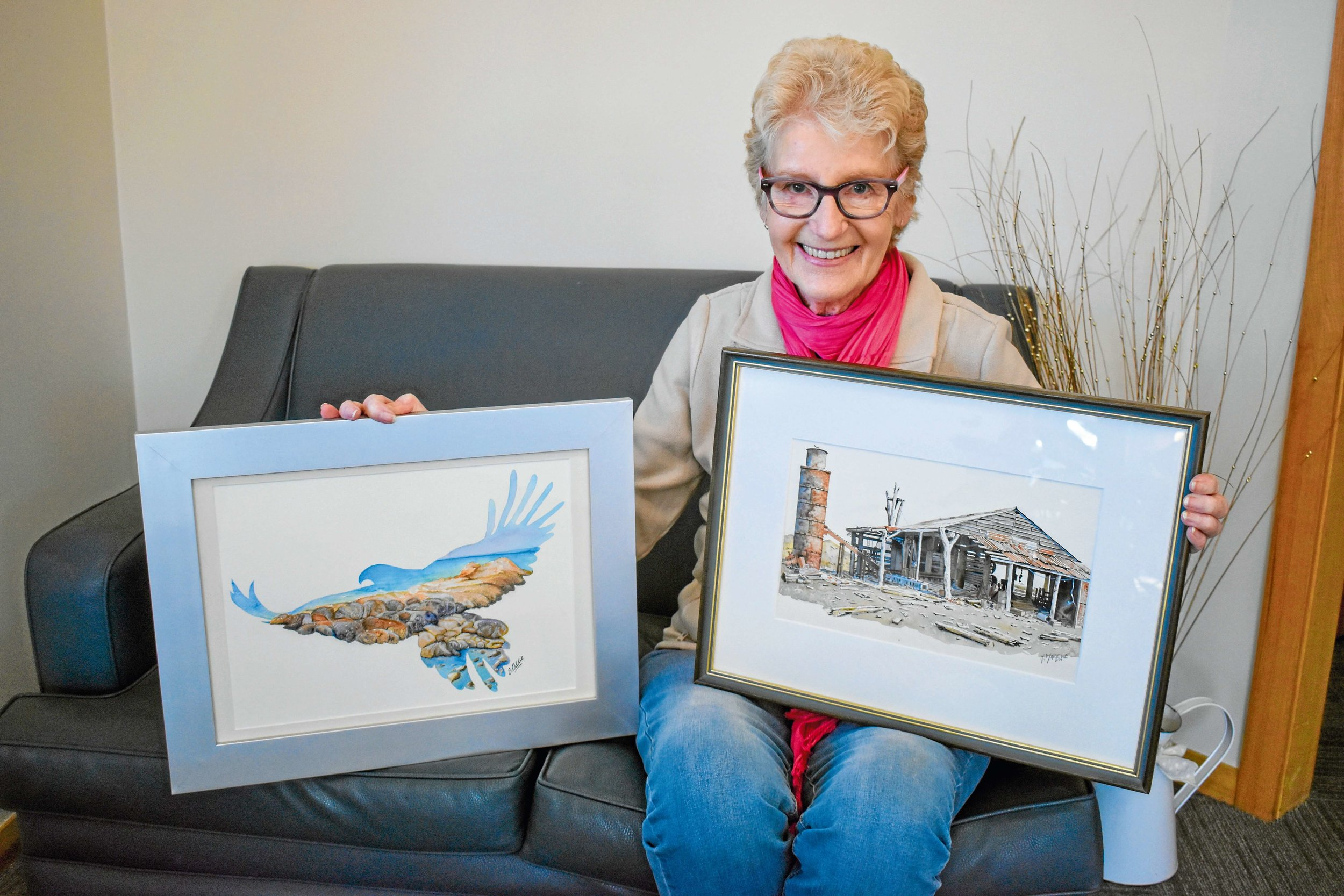 • North Eastern Art and Craft Association secretary Sue Johnson with two pieces that will feature in the exhibition.