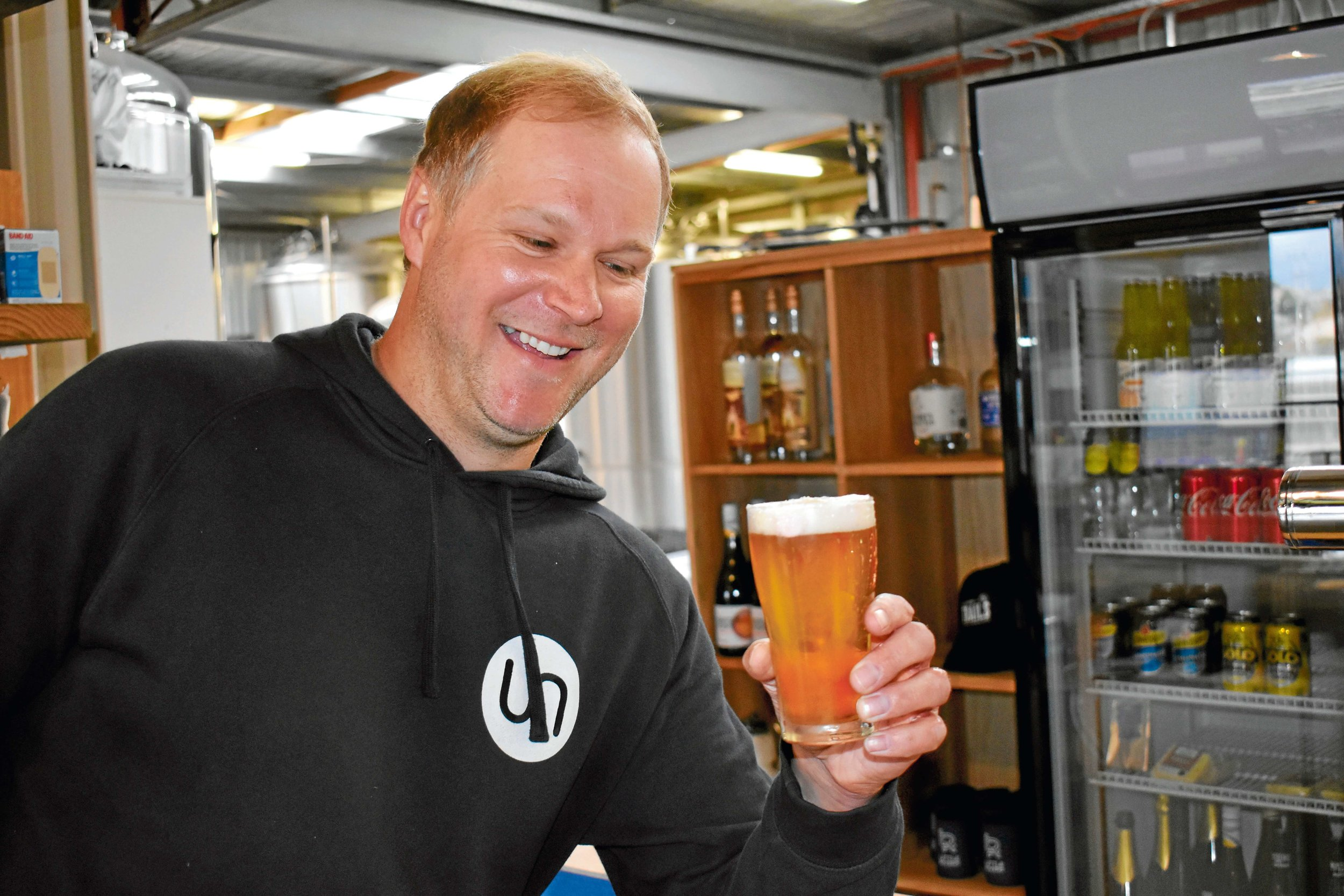 • Little River head brewer Chris Carins with his newest creation, the VoVo milkshake, releasing this Friday night.
