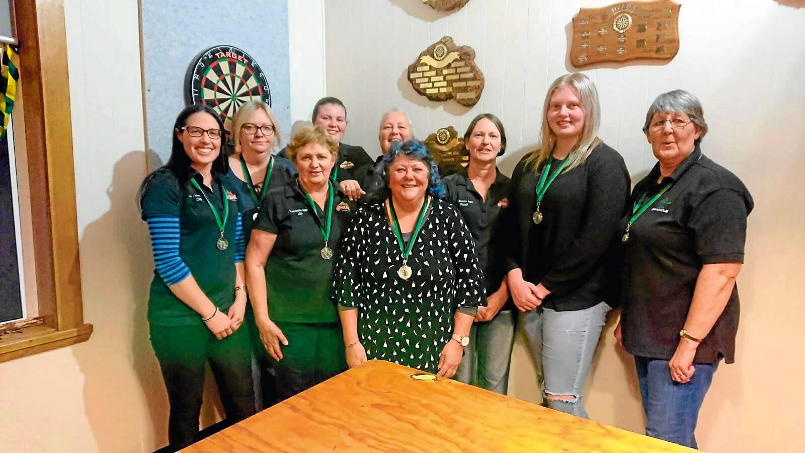 • Winning team Lisa Barrett, Wendy McDougall, Mel Brown, Kelly Lade, Mandi Edwards, Rhiannon Shannon-Grant, Alison Barrett (back). Lila Bailey and Trish Reeve (front).