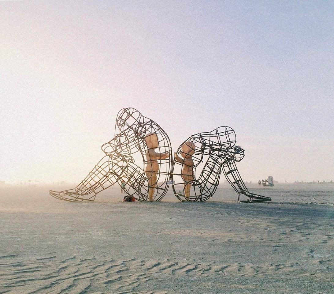 'Love' by Ukrainian sculptor Alexander Milov, Burning Man, Nevada 2015