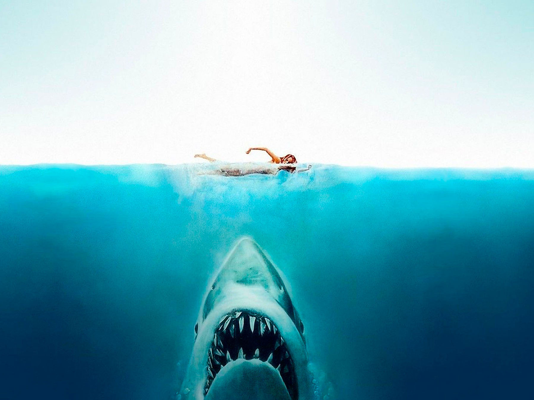 Jaws book jacket and movie poster illustration by Roger Kastel.1974.