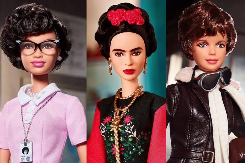 Kvinnuhetjurnar Amelia Earhart, Frida Kahlo og Katherine Johnson í barbieútgávu. Tú kanst lesa um tær og teirra brøgd í bókini  Góðanáttsøgur fyri rebelskar gentur