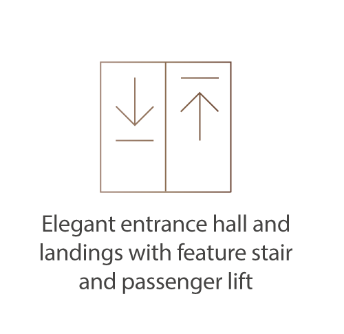 Elegant entrance hall and landings with feature stair and passenger lift