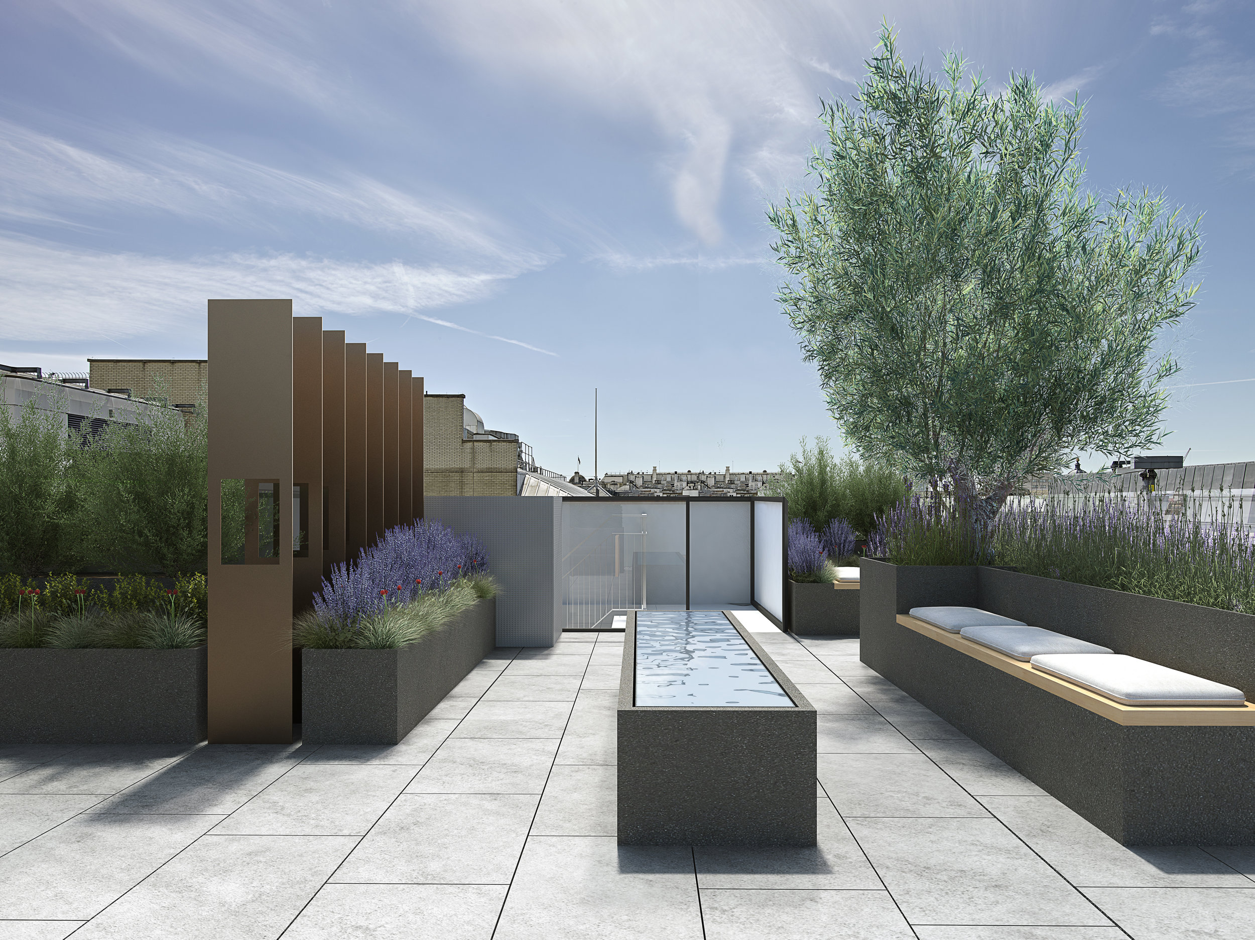 - Roof Garden - - The stunning roof garden has been conceived by Andy Sturgeon Design Landscape and Garden Design. Since 1988 Andy has been dedicated to creating dynamic external spaces for private, commercial, and international clients. Twice voted one of the top 10 garden designers in the UK and winner of numerous awards including 7 Gold Medals and twice Best in Show at The RHS Chelsea Flower Show, he blends strong design, natural materials and innovative planting to create bold, architectural and timeless landscapes.