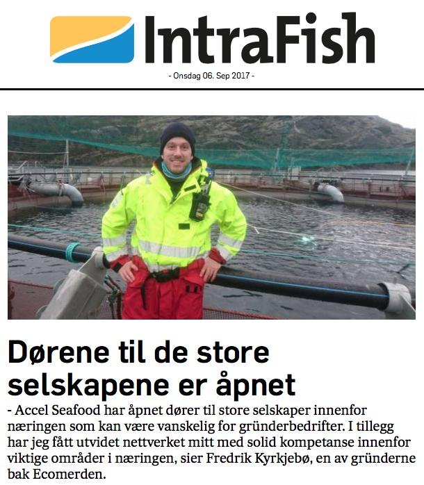 Ecomerden var deltaker på ACCEL Seafood i 2016.Skjermdump fra  Intrafish.no