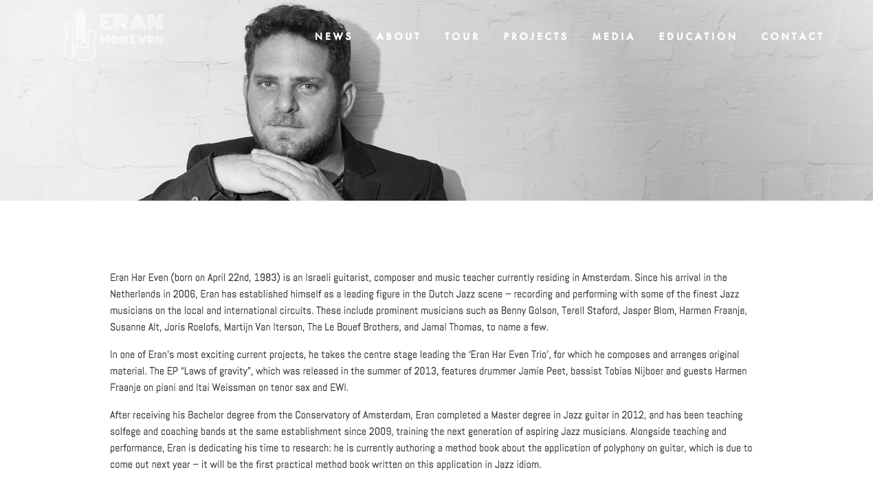 Biography page