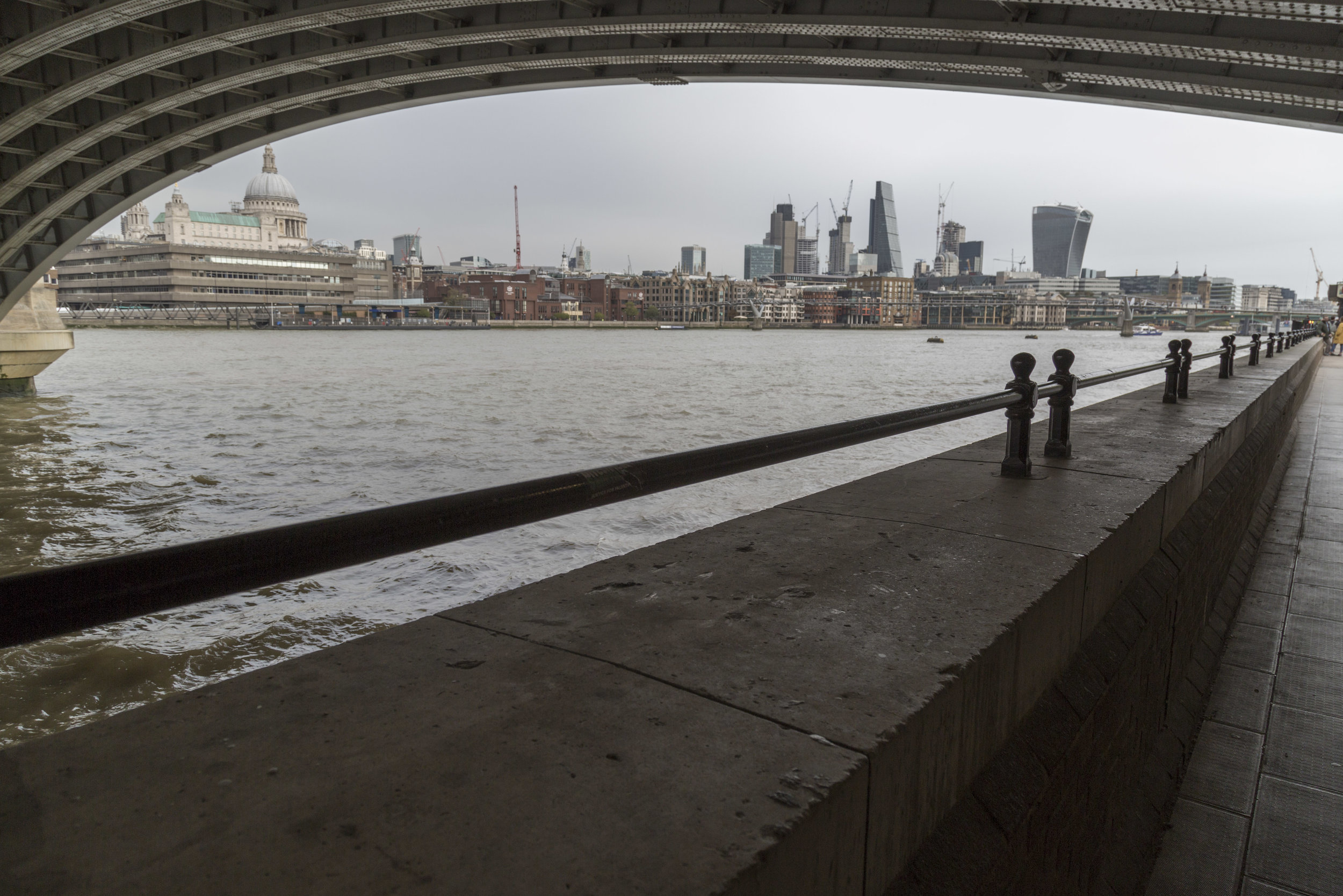 Southbank bridge view - references films shot on Southbank such as Four Weddings and a Funeral