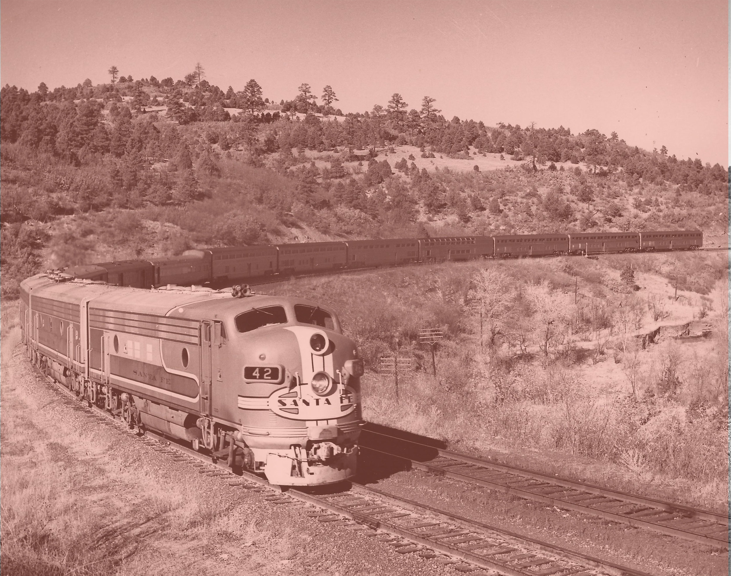 Historic 1950 Santa Fe engine and HI-Level passenger cars