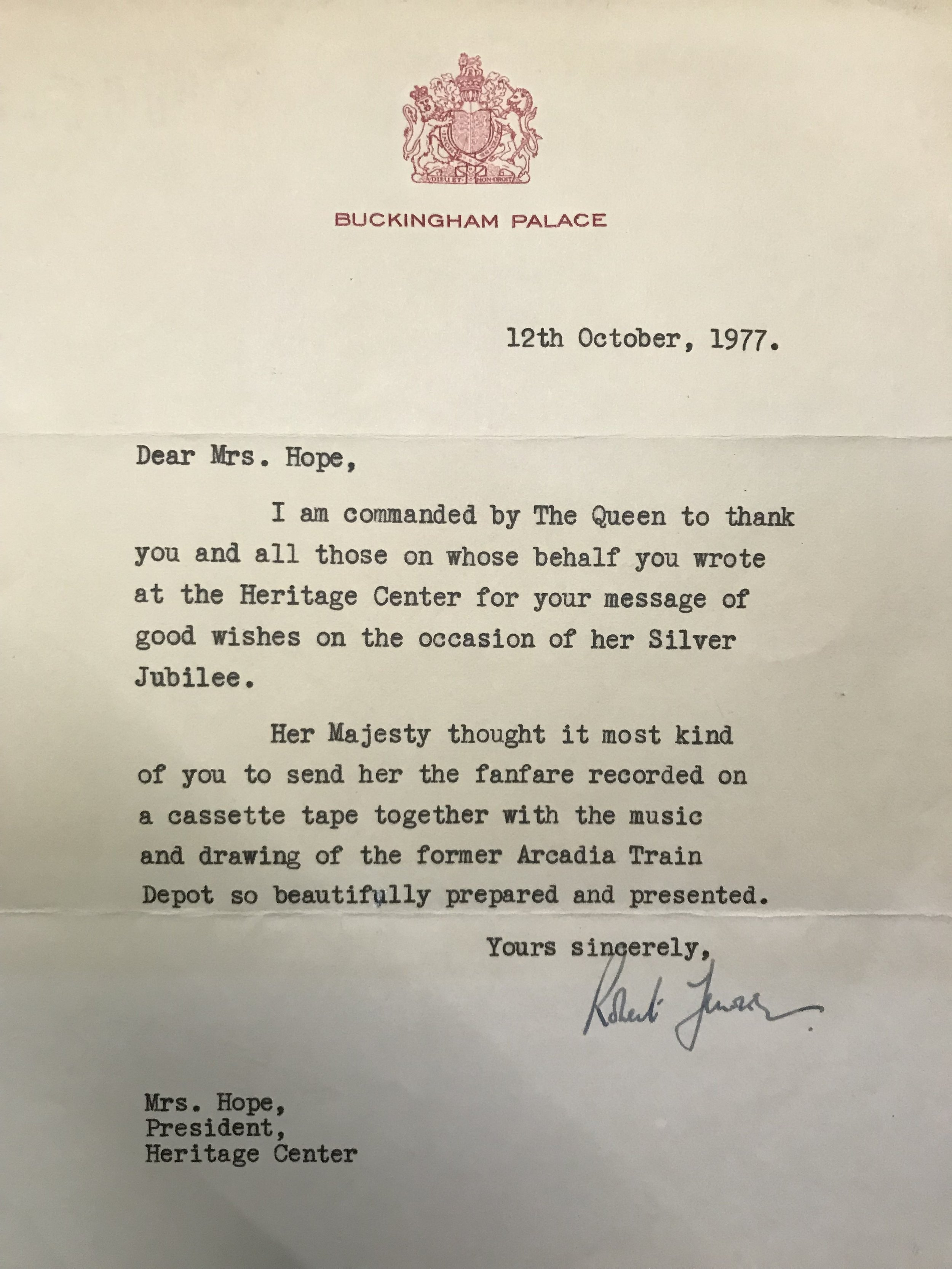 - A thank you letter from the Queen.