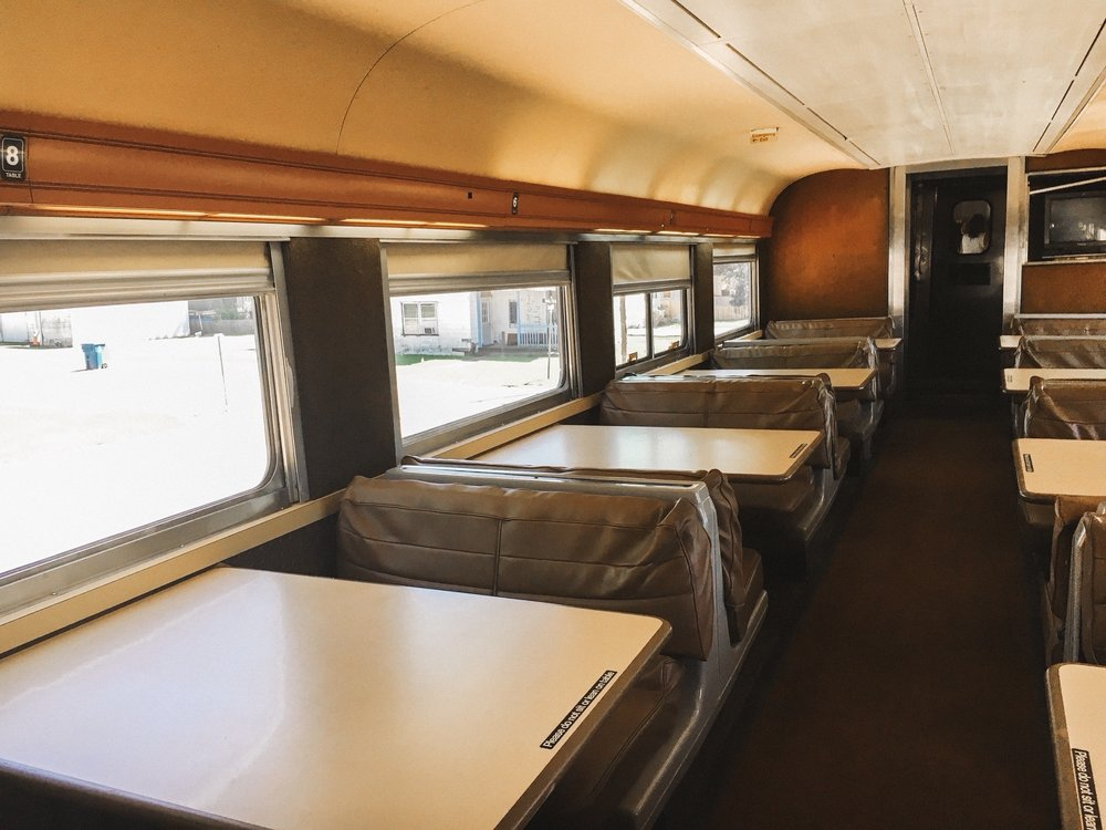 Dining car seating. Dining car seating is not as roomy as the reserved coach seating. Taller passengers should opt for reserved coach seating for maximum comfort!