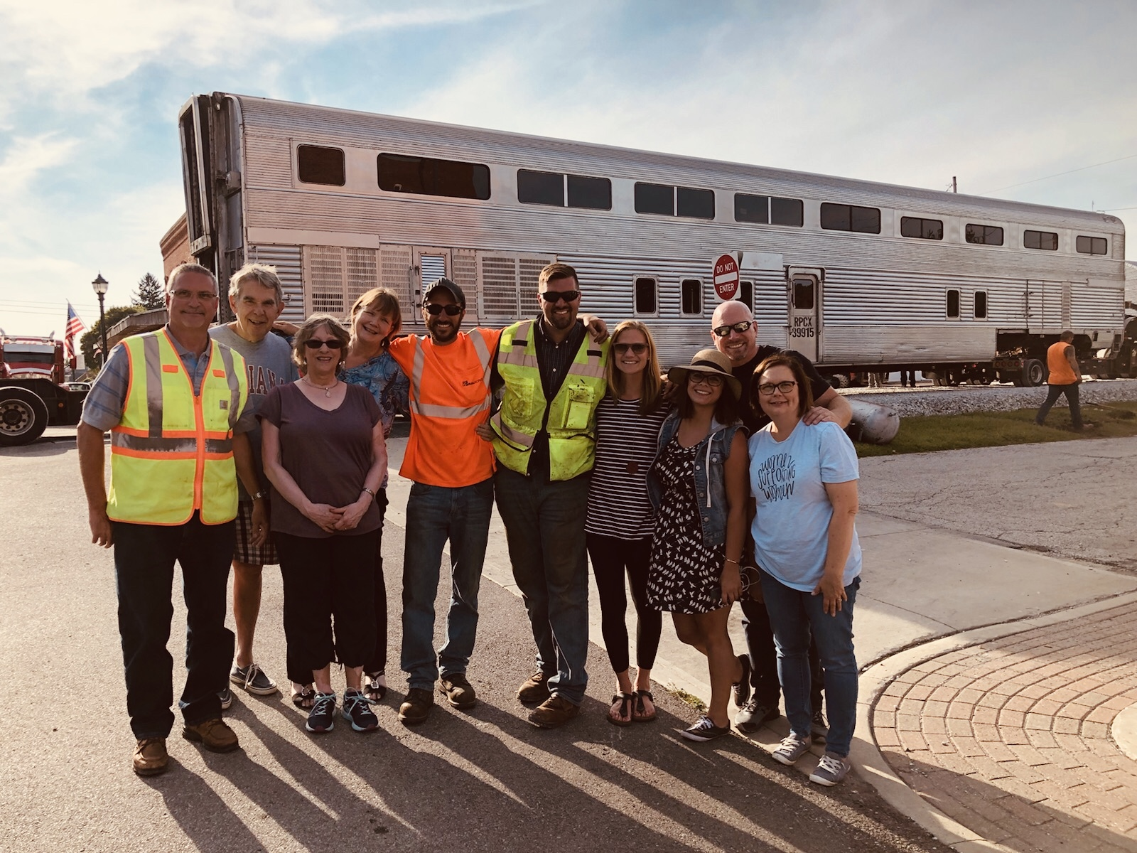 Nickel Plate Express staff and board members welcome the first piece of equipment to Hamilton County: Sept. 1, 2018