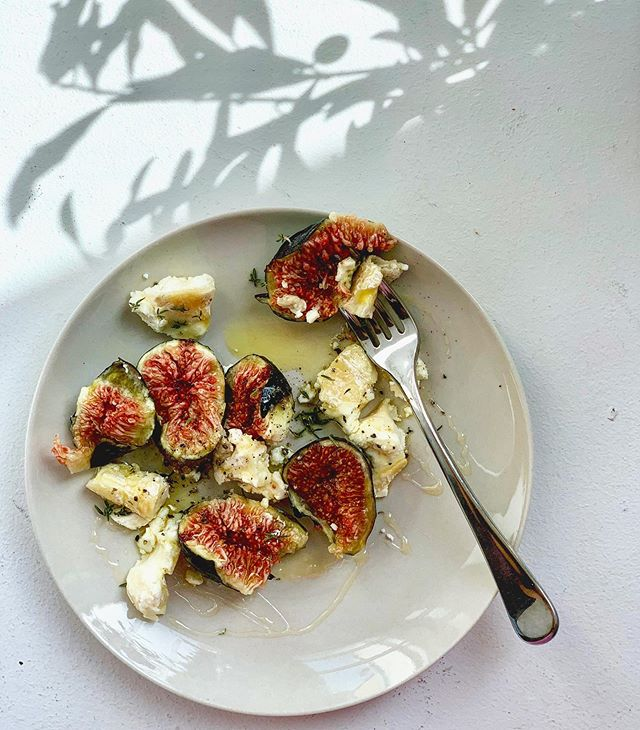 Figs, sharp goats cheese, honey, thyme. Oldie but goodie.