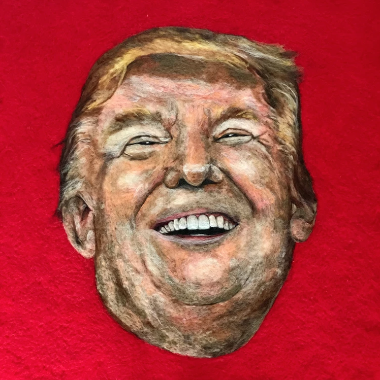 © the artist Sarah Vaci. A contemporary piece of Donald Trump.  Wool, Felt, Clothes Moths (alive). Framed Behind Glass. 97x97cm.    Buy this work £15,000