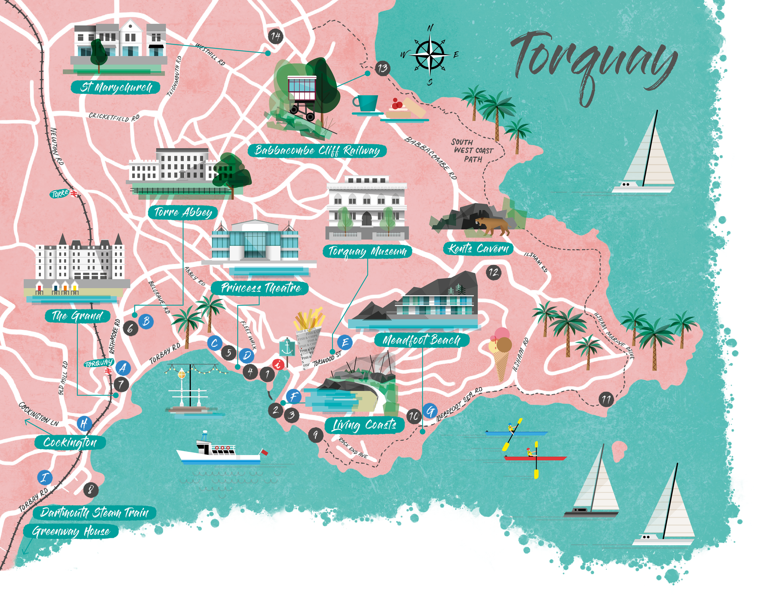 Writers on the Riviera trail map © 2019 Torbay Culture and English Riviera BID Company Credit: Illustrated map by Bert Fowler & Sophia Slater.