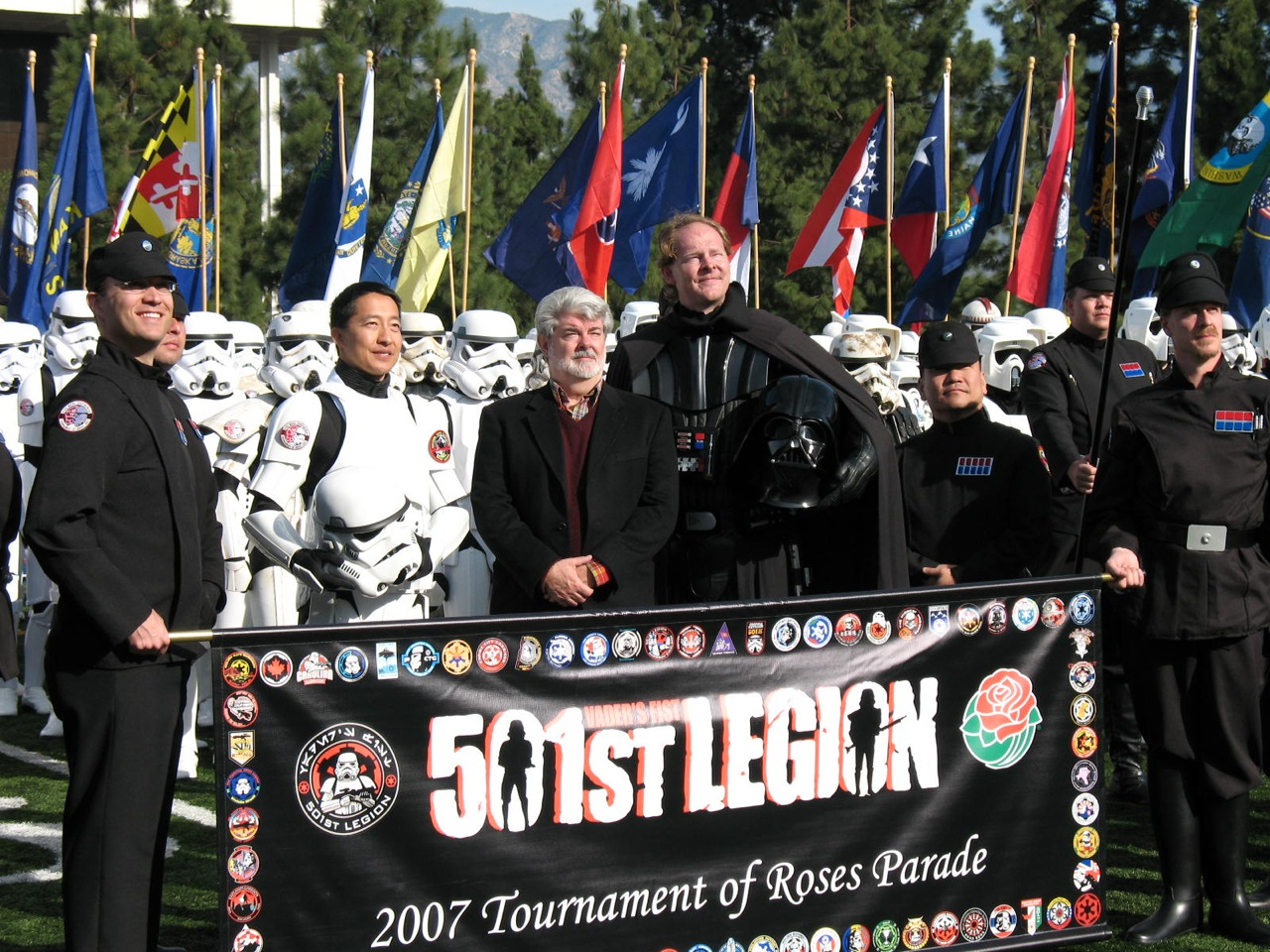 Mark Fordham (Vader) and the 501st with George Lucas