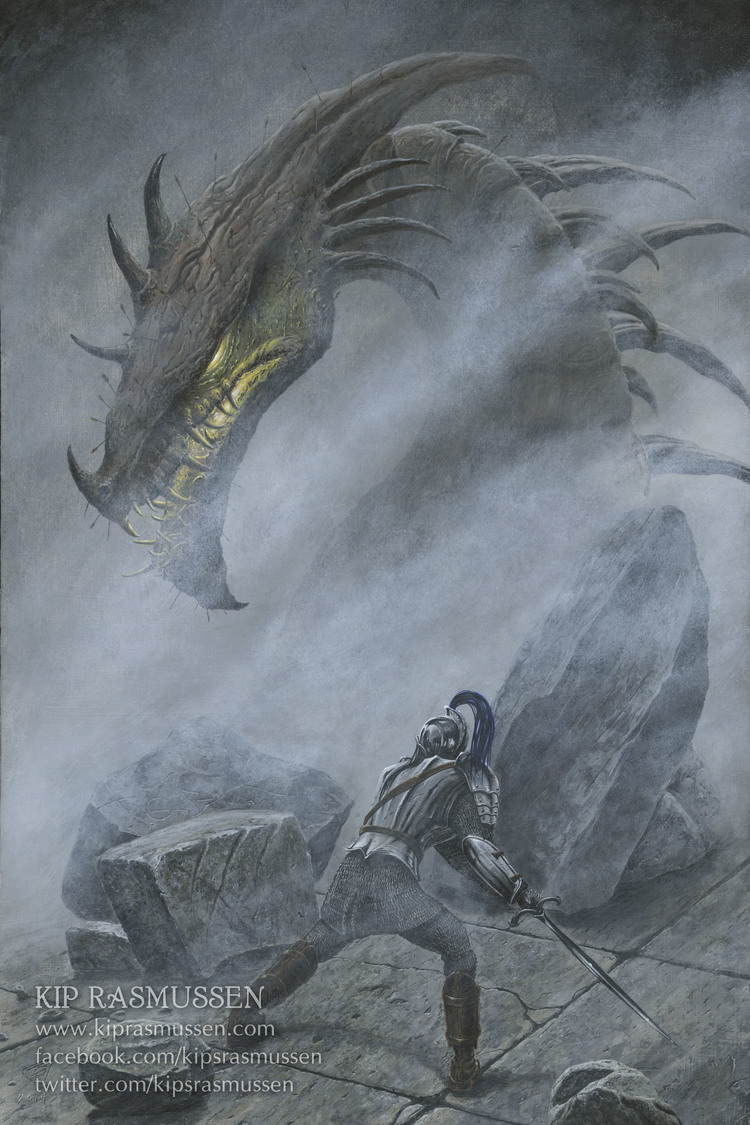 Turin faces Glaurung on the bridge of Nargothrond. Illustration by  Kip Rasmussen .