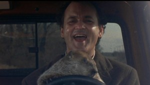 Bill Murray going nuts in Groundhog Day. Columbia-TriStar.