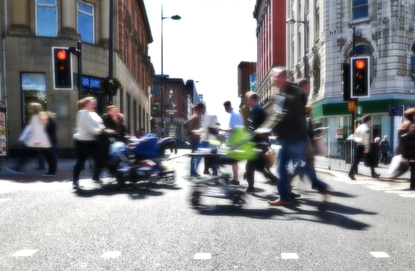 pedestrians at a busy Liverpool crossing