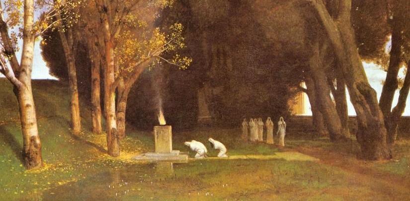 Arnold Böcklin:  El bosque sagrado ( óleo, 1882; fragmento)
